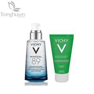 Combo vichy dưỡng chất khoáng cô đặc mineral 89 serum 50ml + sữa rửa mặt cho da nhờn, mụn normaderm phytosolution gel 50ml